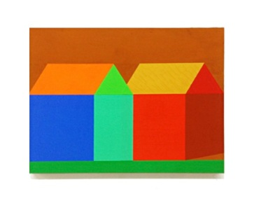"Ann Schaumburger Yellow Ochre Roof Houses 2012 Flashe on wood 12"" x 16"" x 1"""